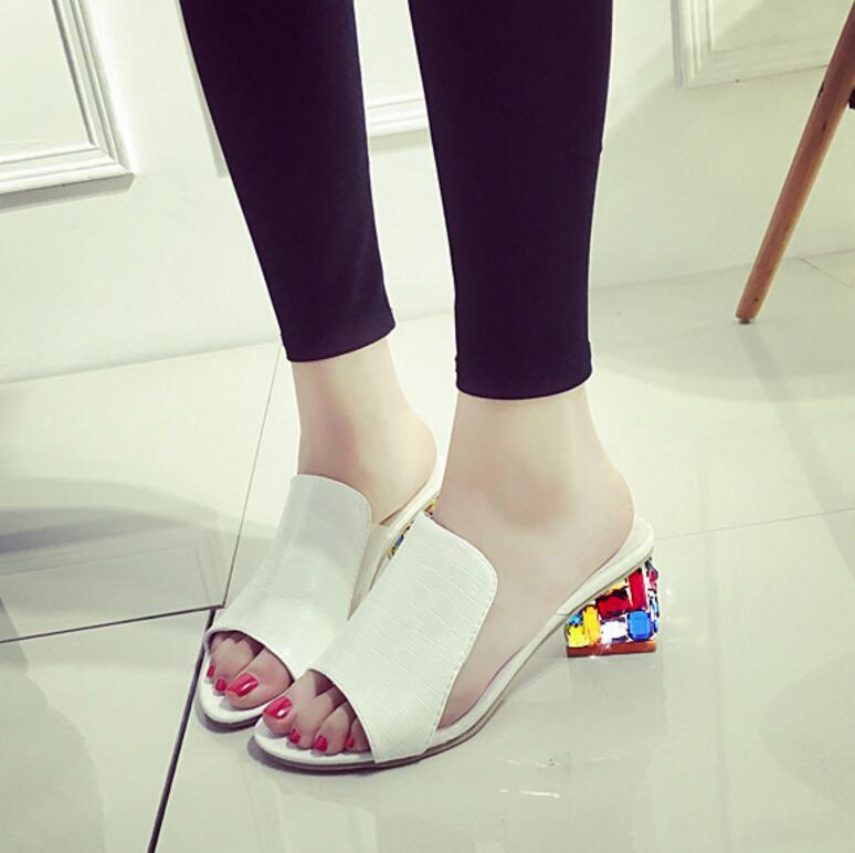 Summer New Fashion High Heels Sandals Mixed Color Splicing Shoes For Casual Party Women'S Shoes Big Sizes