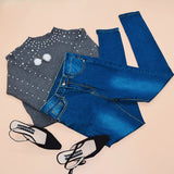 Casual Blue Dark Skinny High Waist Button Fly Denim Jeans For Women - Sheseelady