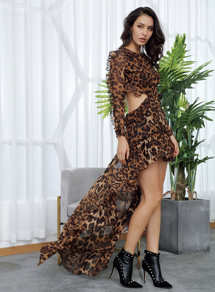 Sexy Cut Out Open Black Leopard Chiffon Dress Women