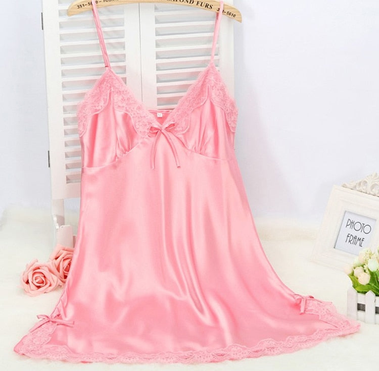 Ladies Sexy Silk Sleepwear Satin Nightgown V-Neck Nightdress Slip Nighties Summer Night Dress Lace Night Gown Lingerie For Women - Sheseelady