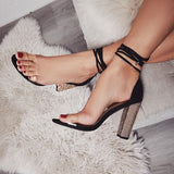 Sexy High Heels Women Pumps Gold Rhinestone Heels Ladies Shoes Classic Pumps Plus Size Shoes Women Buckle Strap Sandals