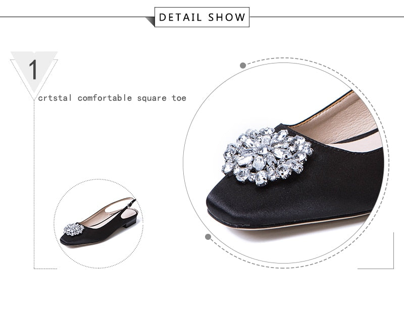 Women Pumps Satin Summer Buckle Slingback Shoes Handmade Women Square Heels Low Crystal Silk Fabric Footwear Women