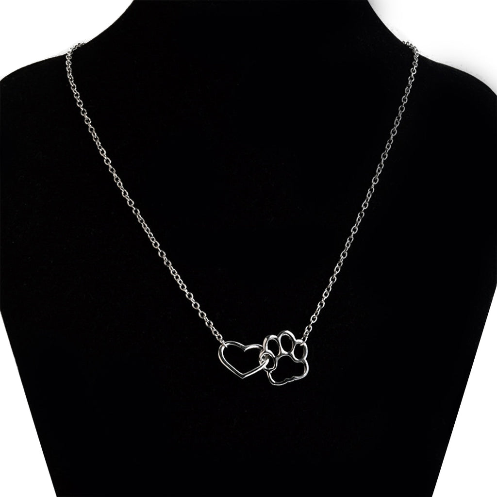Hollow Pet Paw Footprint Necklaces Shellhard Cute Animal Dog Cat Love Heart Pendant Necklace For Women Girls Jewelry Necklace