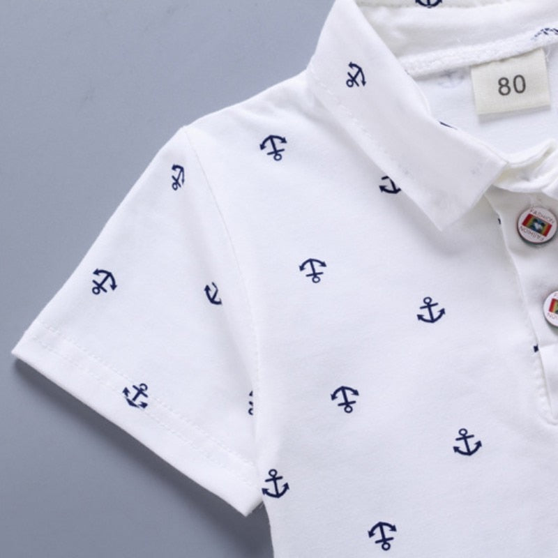 Anchor Print Navy Blue White T Shirts And Clothes Sets For Boys - Sheseelady