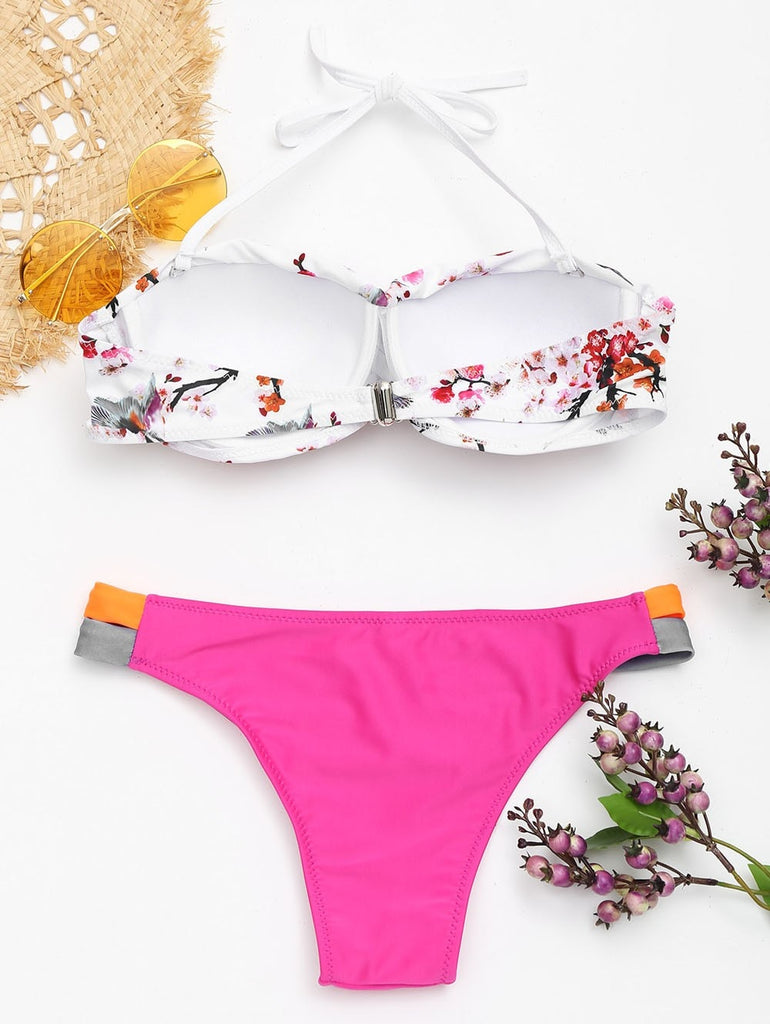Sexy Floral Beachwear Summer Bandeau Hang Neck Bikini