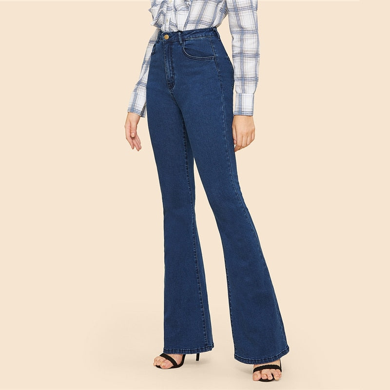 Vintage Solid Flare Hem Mid Waist Skinny Blue Jeans For Woman