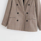 Fashion Plaid Women Blazer Coat Retro Button Lattice Suit Jacket With Shoulder Pads Jacket Blazer Female Casual Coats - Sheseelady