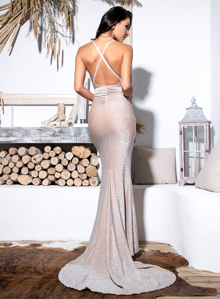 Sexy Nude Deep V-Neck Cut Out Bodycon Shiny Elastic Fabric Maxi Dress For Ladies