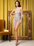 Sexy Silver Strapless Sling Cross Style Glitter Glued Material Party Dress For Ladies