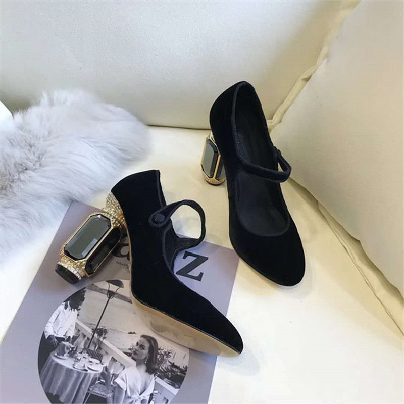 High Heel Shoes Woman Gemstone Heel Buckle Banquet Shoes Women Pumps Green Wine Red Velvet Zapatos Mujer - Sheseelady