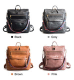 High Quality Pu Leather Rucksack Backpack With Silt Pocket - Sheseelady
