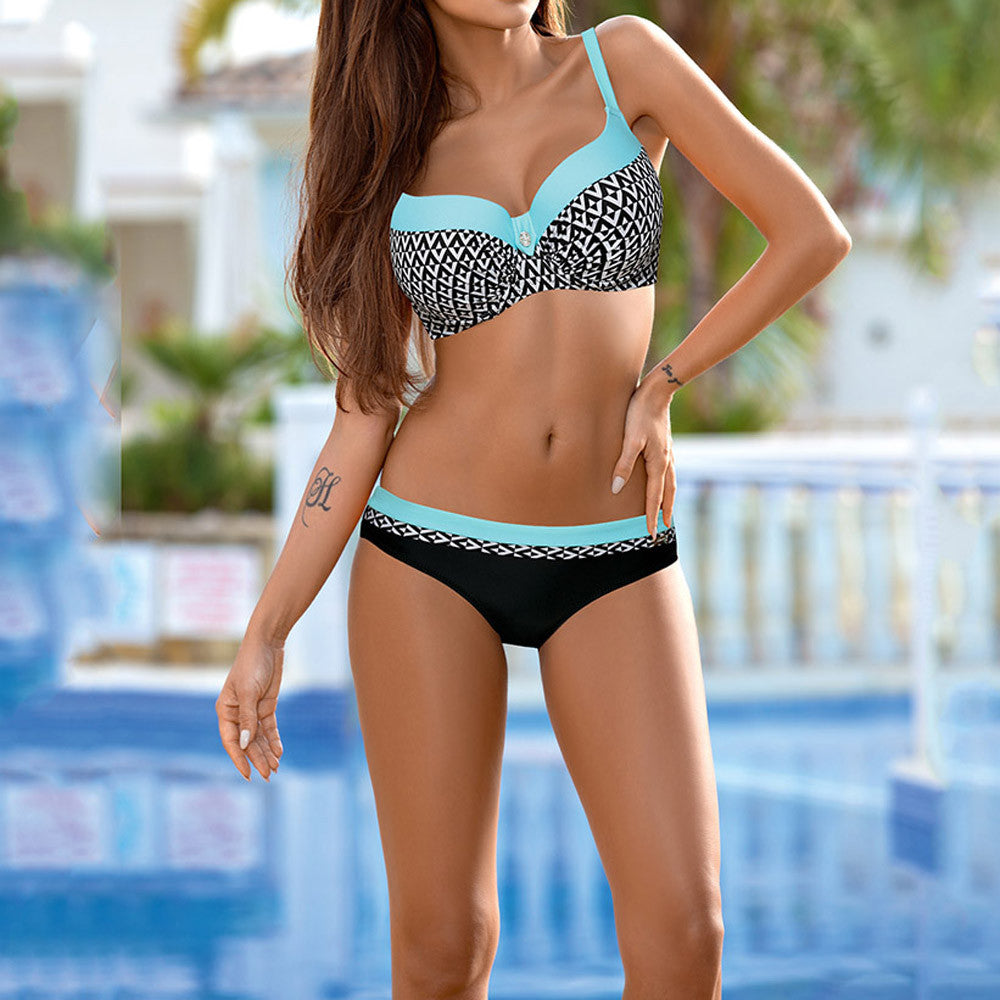 Swimsuit Bikini Triangle Halter Printed Two-Piece Bikini