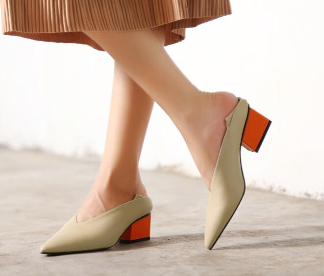 Vintage Genuine Leather Chunky Mix Color Mid-Heeled Hot Women Shoes Pointed Toe Dress Sexy V Design Retro Female Shoes