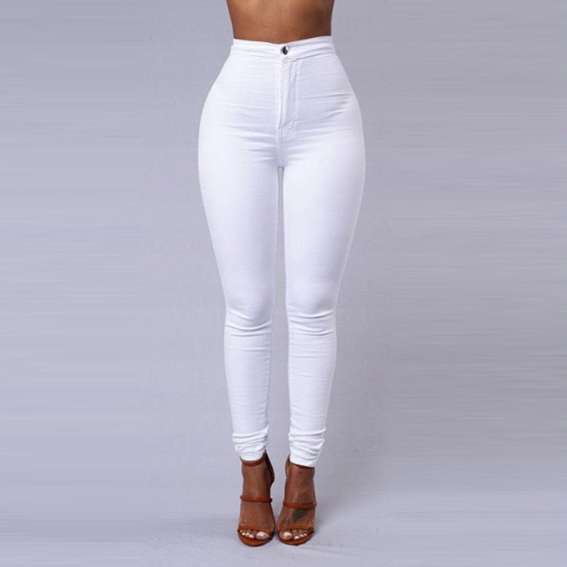 White Black High Waist Candy Color Skinny Jeans For Woman
