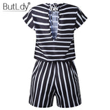 Casual Beach Jumpsuit Short Sleeve Elegant Overalls For Women - Sheseelady