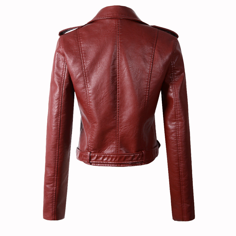 Winter Autumn Motorcycle Leather Jackets Yellow Leather Jacket Women Leather Coat Slim Pu Jacket Leather