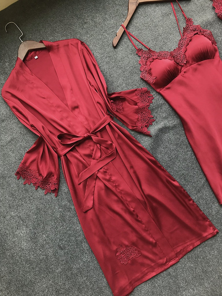 Sexy Women'S Robe & Gown Sets Lace Bathrobe + Night Dress 4 Four Pieces Sleepwear Womens Sleep Set Faux Silk Robe Femme Lingerie