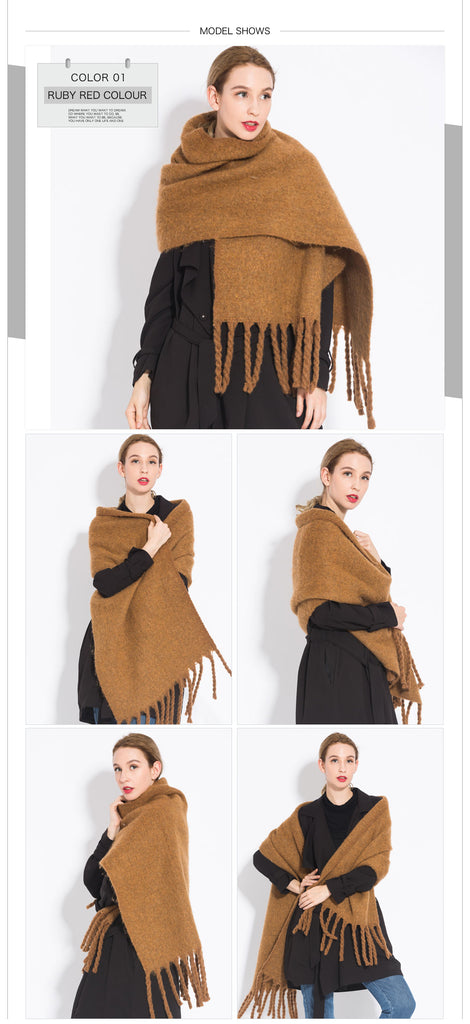 Pure Coffee Camel Colored Tassel Women Shawl Scarf For Autumn Winter