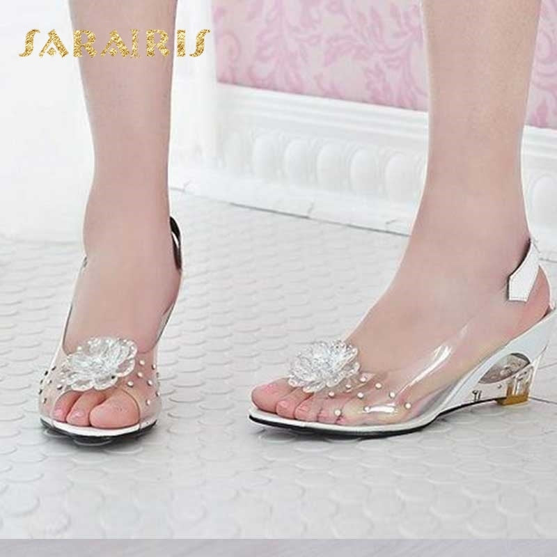 Fashion Summer Rhinestone Flower Wedge High Heels Casual Jelly Shoes Woman Sandals Women'S Shoes - Sheseelady