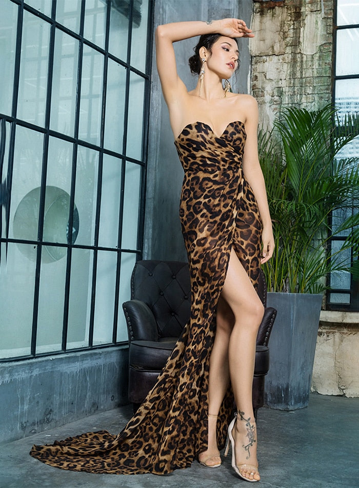 Sexy Deep V Neck Cross Brown Leopard Chiffon Slim Long Dress For Females