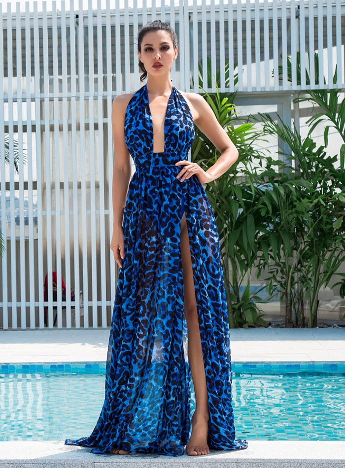 Sexy Blue V-Neck Open Back Cut Out Leopard Chiffon Long Dress