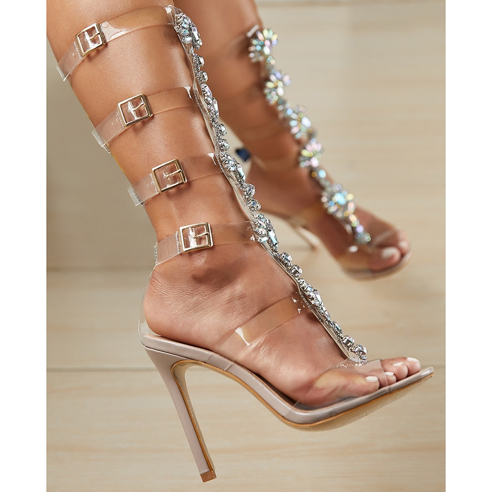 Plus Shoes Sexy Gladiator Knee High Transparent Buckle Sandals Fashion Crystal Flower High Heel Women Sandal