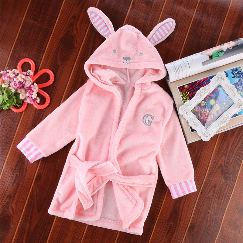 Cute Boys Girls Animal Ears Bathrobe Hooded Bath Robes Towel Infant Baby Long Sleeve Hoodies Belt Bathing Robes Sleepwear 0-5Y - Sheseelady
