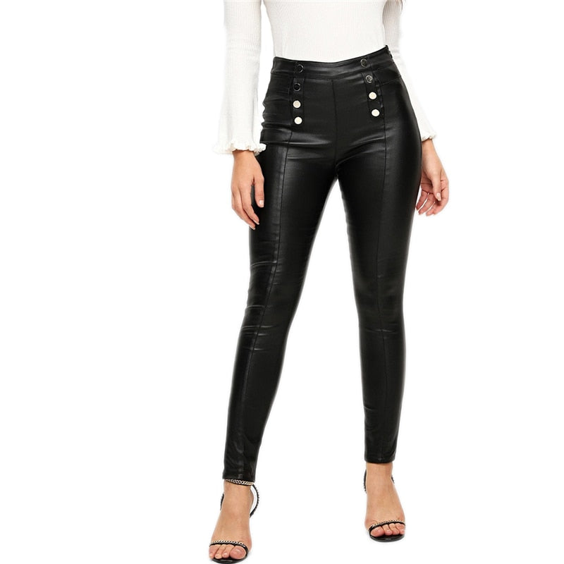 Fashion Elastic Waist Black Double Breasted Skinny Leggings For Women