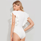 Black Ruffle Cute Textured Bodysuit Women White Cap Sleeve Slim Summer Bodysuits Fashion New Sexy Brief Skinny Bodysuit - Sheseelady