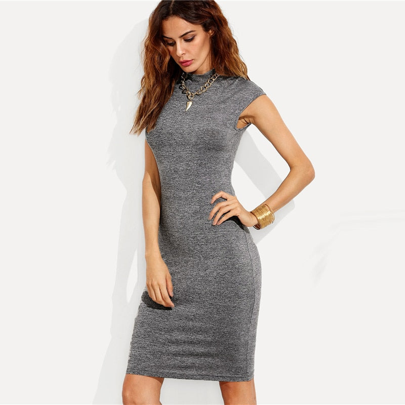 Plain Knit Workwear Elegant Pencil Dress Ol Work Stand Collar Cap Sleeve Knee-Length Slim Women Bodycon Dresses