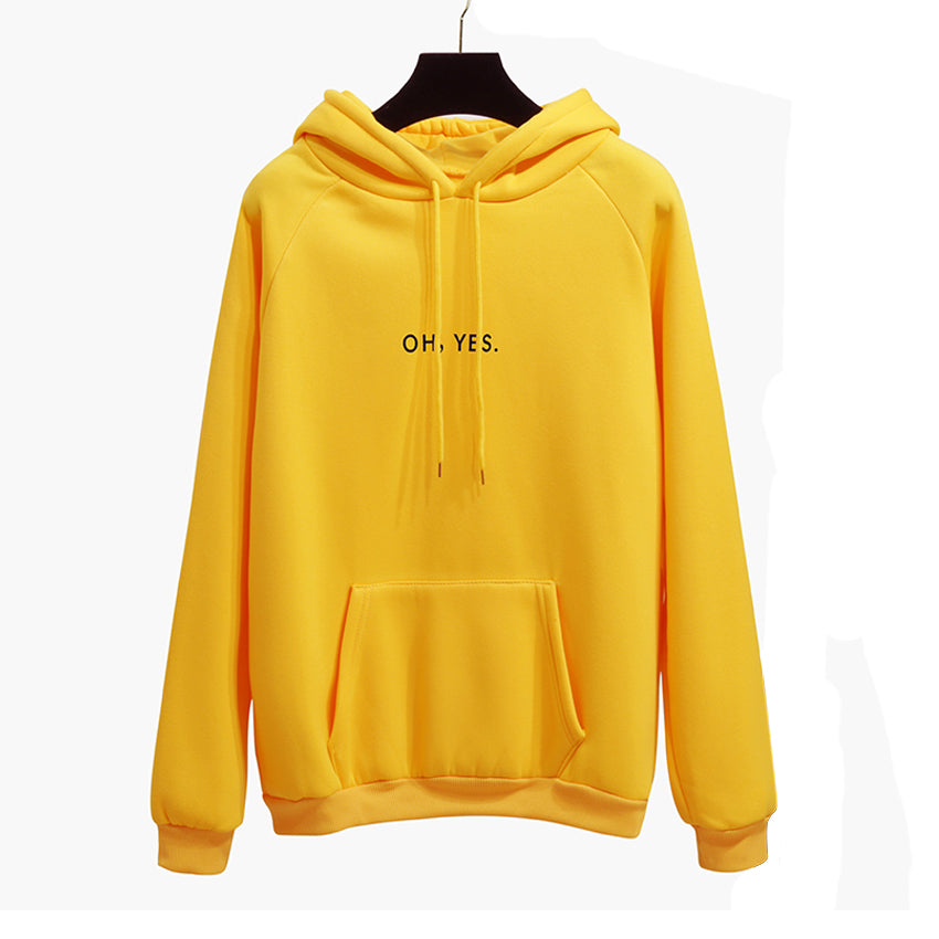 Oh Yes New Fashion Corduroy Long Sleeves Letter Harajuku Print Light Pink Pullovers Tops O-neck Women's Hooded Sweatshirt