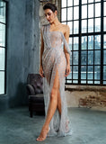 Sexy Silver Cross Cut Out Straps Glitter Glued Material Long Dress For Ladies