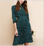 Sexy Green Dot Printed Pleated Casual A-Line Dress For Women