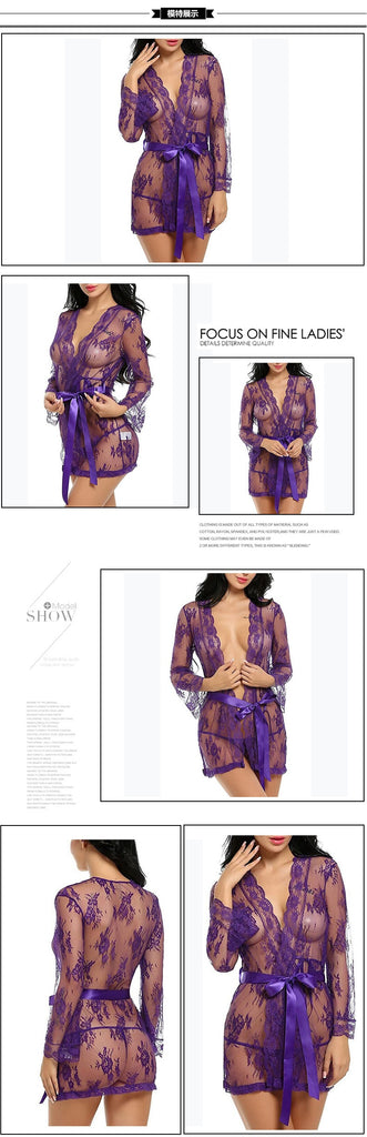 Summer Women Sexy Lingerie Babydoll Chemises Lace Transparent Bathrobes Robes Sleepwear See-Through Porno Sex Underwear Dress