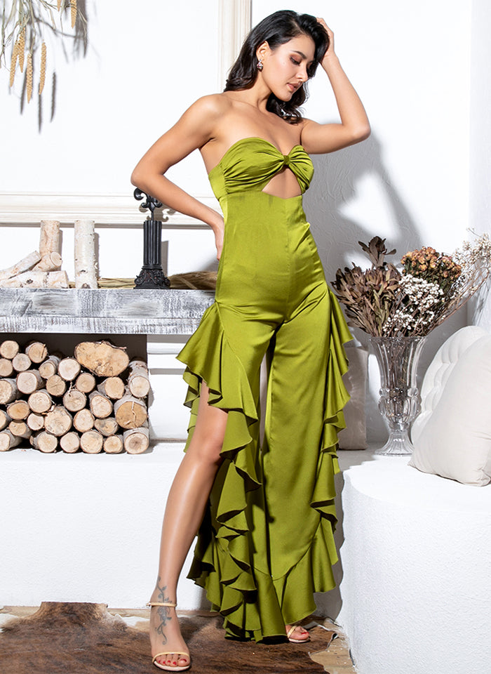 Sexy Green Tube Top Cut Out Side Slit Ruffled Jumpsuit For Ladies