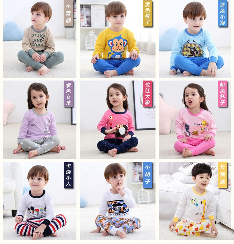 Long Sleeve Tops+Pants 2Pcs For Kids Boy&Girl