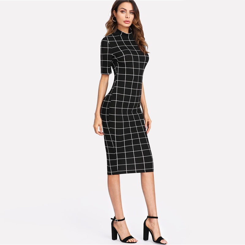 Plaid Pencil Dress Stand Collar Short Sleeve Midi Dress Autumn Winter Women Ol Work Elegant Bodycon Dress