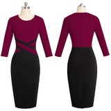 Vintage Elegant Contrast Color Patchwork Wear To Work Vestidos Business Party Office Women Bodycon Dress