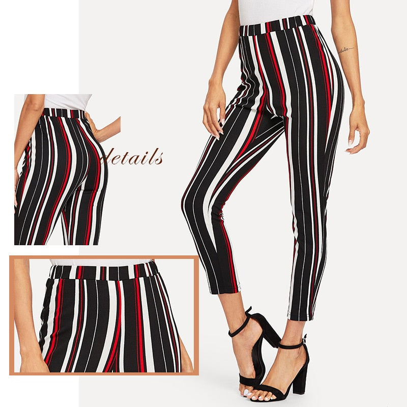 Elegant Stretch Knit Striped Pants Multi Color Waist Skinny Pants And Capris For Women