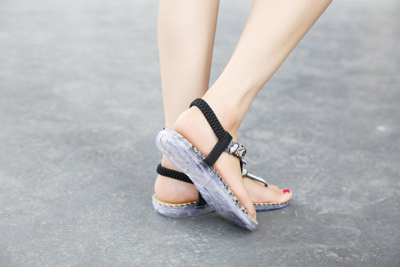 Summer Sandals Women T-Strap Flip Flops Thong Sandals Designer Elastic Band Ladies Gladiator Sandal Shoes Zapatos Mujer