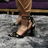 Embroider Women Pumps High Heels Pointed Toe Lace Up Cross-Tie Women High Heels Elegant Ladies Shoes Women - Sheseelady