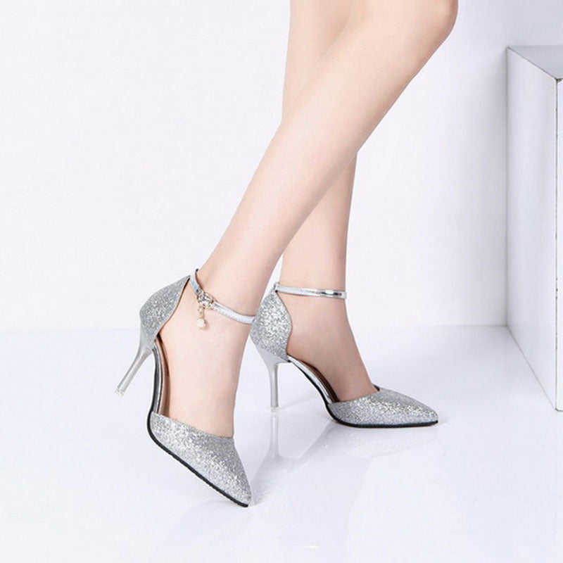 Fashion Buckle Crystal Bling Pumps Women Elegant Thin High Heels Point Toe Party Wedding Shoes Woman Sexy Bridal Pumps Stiletto - Sheseelady