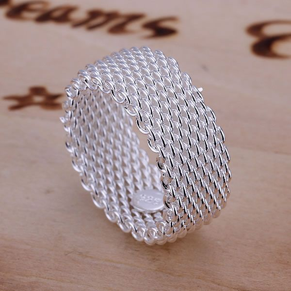 925 Jewelry Silver Plated Ring Fine Fashion Net Ring Women&Men Gift Silver Jewelry Finger Rings - Sheseelady