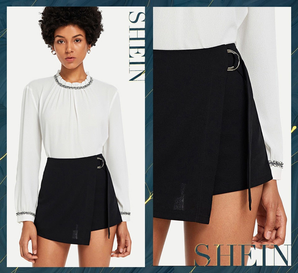Black Elegant Office Lady Wrap Solid Knot Zipper Mid Waist Fly Solid Shorts Summer Autumn Highstreet Women Shorts - Sheseelady