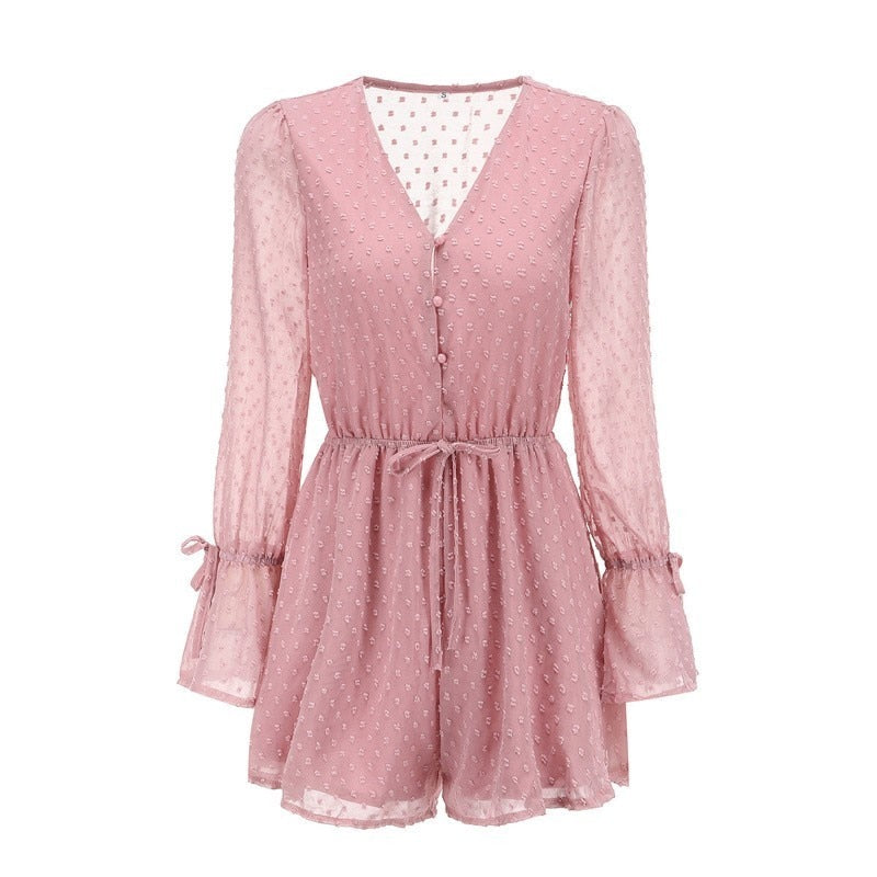 Sexy Transparent Playsuit Summer Bohemian Beach Overalls Pink Polka Dot Short Jumpsuit Women Rompers Long Sleeve