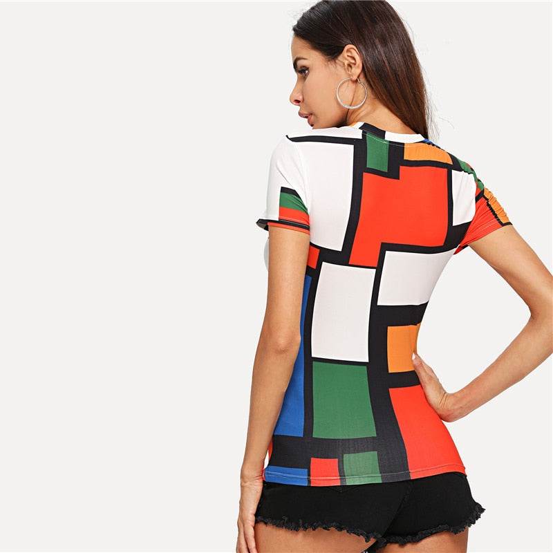 Geometric Print Color Block Top Multicolor Short Sleeve Round Neck Tee Women Raglan Sleeve Slim Fit Pullovers T Shirt