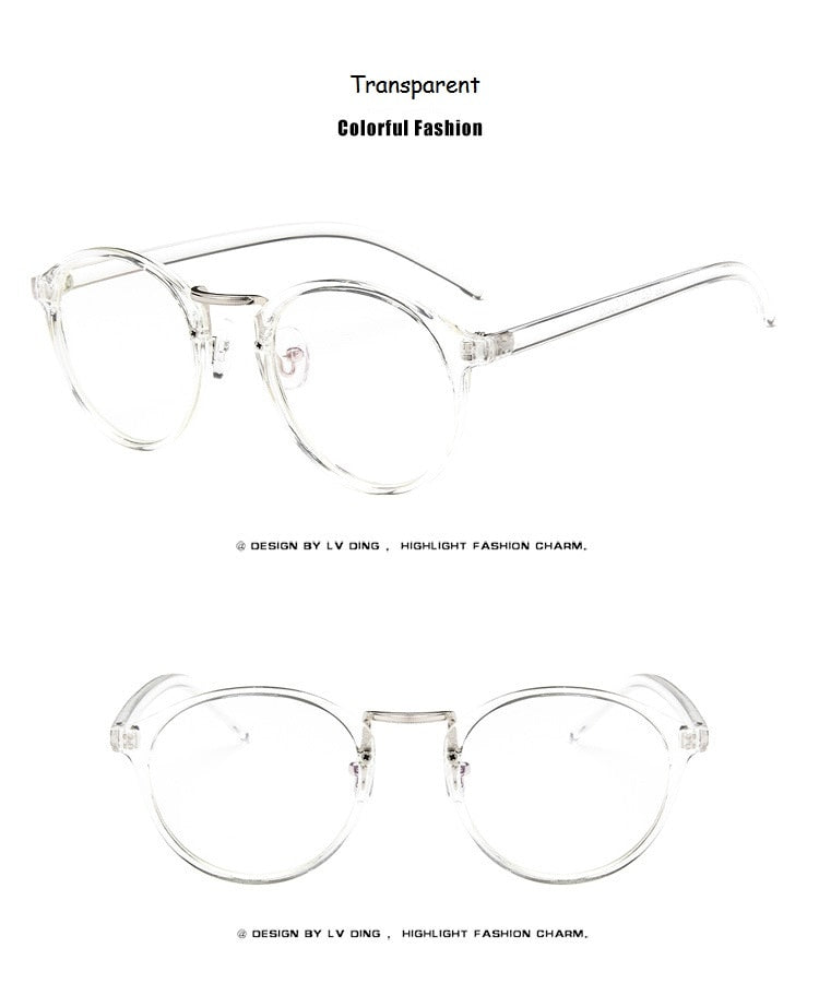 Fashion Transparent Round Glasses Clear Frame Women Spectacle Myopia Glasses Men Eyeglasses Frame Nerd Optical Frames Clear - Sheseelady
