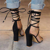 Women Pumps Women Heel Sandals Women Lace Up Transparent Shoes Summer Ankle Strap High Heels Female Thick Nude Shoes