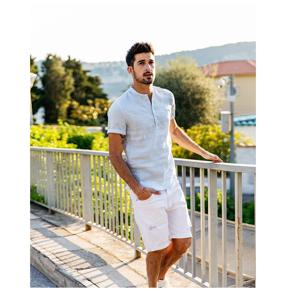 100% Linen White Solid Color Slim Fit Men Shirts - Sheseelady