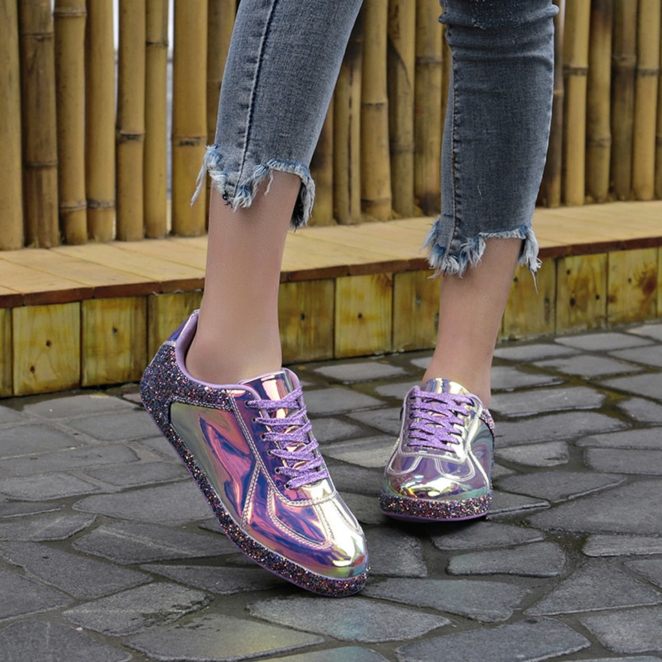 Women Sneakers Gold Glitter Shinny Bling Fashion Casual Oxford Shoes Woman Lady Ballet Flats Glossy Sneakers Espadrilles